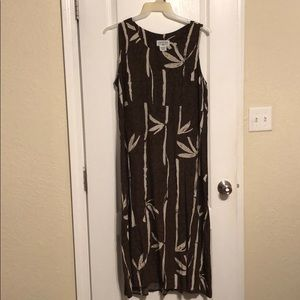 Brown maxi dress with bamboo print